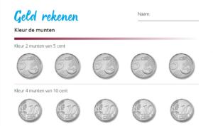 Geld rekenen kleur de munten