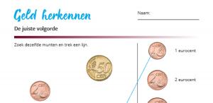 Rekenblad - zet de munten in de juiste volgorde